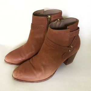 Anthropologie Brown Leather Zip Up Booties-Size 6